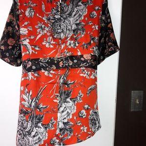 Zara Woman Tie Waist Asymmetrical Blouse XL